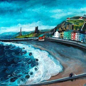 Eistedd ar treath y de - South beach aberystwyth